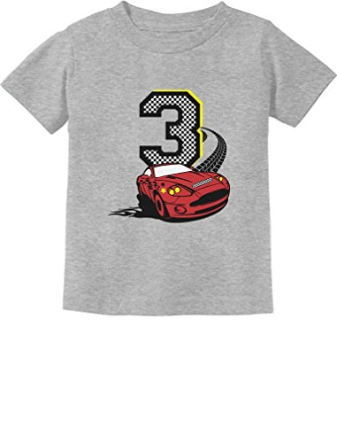 3rd Birthday 3 Year Old Boy Race Car Party Toddler Kids T-Shirt 3T Gray