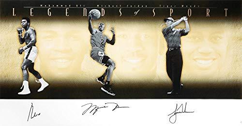 Tiger Woods, Michael Jordan, Muhammad Ali Signed Display. Legends of Sport UDA