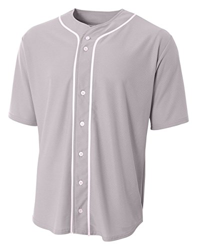 A4 N4184-GRY Shorts Sleeve Full Button Baseball Jersey, Medium, Gray Full Button Down Jersey