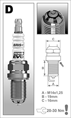 Brisk USA DR15SXC Premium EVO Spark Plug 14mm Thread 19mm-3//4 Reach 16mm-5//8 Hex