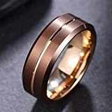 LaurieCinya Tungsten Carbide Ring Men Women Wedding Band Engagement Ring 8mm Comfort Fit Engraved 'I Love You'Brown