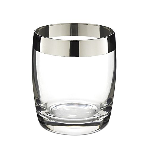 DANUTA DOUBLE ROCKS GLASS {Silver Trim / 15oz (450ml) / 4 Pack}