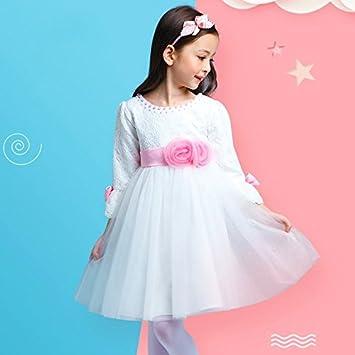 XIU*RONG Vestidos Para Niñas Primavera Princesa Falda De Infancia Vestido Blanco 110Cm