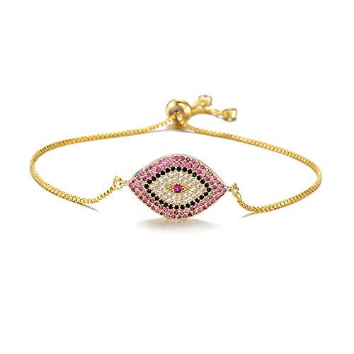 (NEWBUY Trendy Gold Plated Turkish Evil Eye Bracelet Pave CZ Blue Eye Gold Chain Bracelet Adjustable Female Party Jewelry (NBSL282-Gold))
