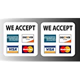 """Credit card sign Visa Mastercard Amex Discover vinyl sticker decal, set of 2, 3.5"""" x 3.5"""""""
