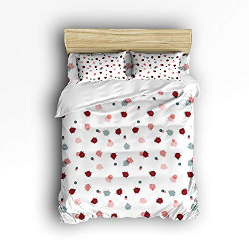 Smile Sunflower Bedding Set Full Size Ladybug Cute Insects White Background Soft Lightweight Duvet Cover Set, 1 Duvet Cover 1 Flat Sheet and 2 Pillow Cases
