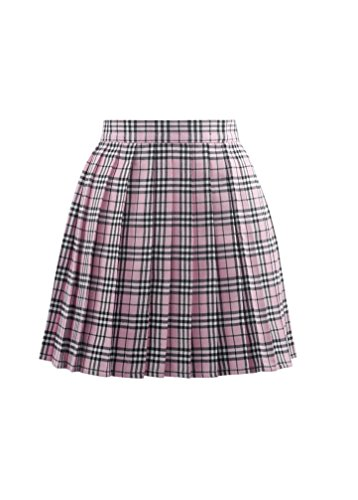 Vogstyle Women's Basic High waisted Solid Pleated Mini Uniform Dress Pink mixed white M (And Green Pink Plaid)
