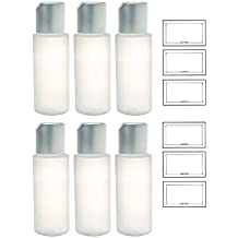 Clear Natural Refillable Plastic Squeeze Bottle with Disc Cap - 2 oz (6 Pack) + Labels