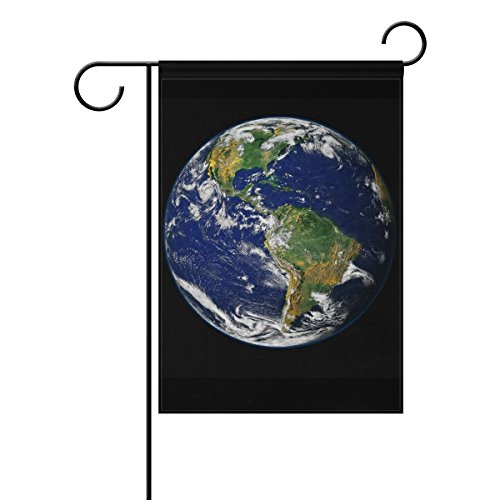 ClustersN Garden Flag Banner Earth Blue Planet Globe World Space 12x18 Inches Double Sided