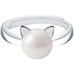 SmallDragon 925 Sterling Silver Natural Freshwater Pearl Cat Ear Ring (adjustable), 6-12