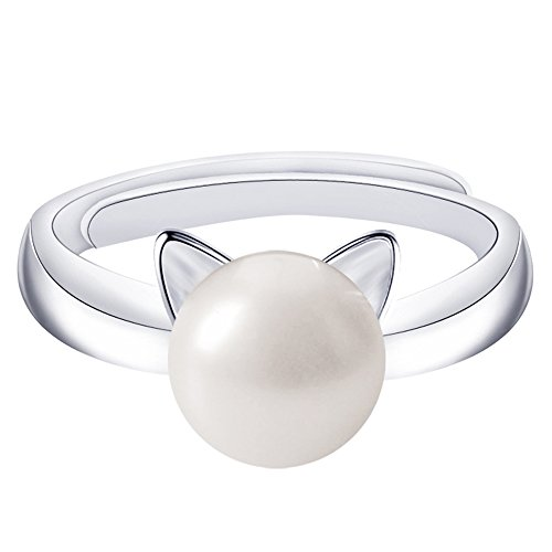 Cheap Cheshire Cat Costumes (SmallDragon 925 Sterling Silver Natural Freshwater Pearl Cat Ear Ring (adjustable), 6-12)