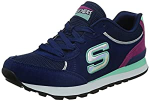 Skechers OG 82 Flynn Navy White Womens Suede Trainers Shoes-7