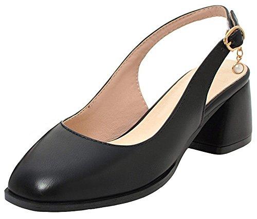 (Mofri Women's Dressy Square Toe Sandals - Solid Color Cut Out Buckled - Block Medium Heel Sling Back Shoes (Black, 9.5 B(M) US))