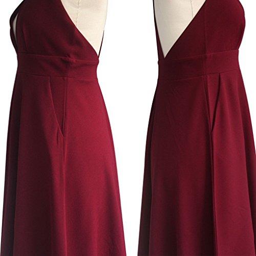 Femmes Acmede Robe D'été Sexy V Cou De Vin Robe Double Poche Épaule Rouge
