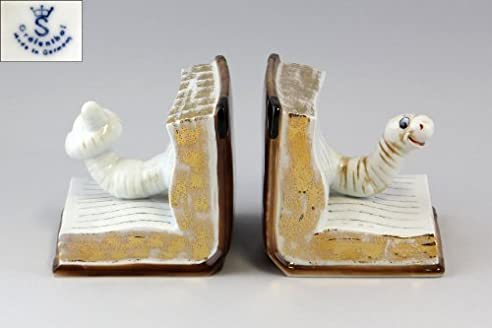 Porzellanfigur Paar Buchstützen Bücherwurm farbig bemalt