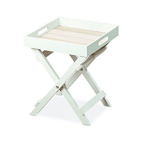 (Whole House Worlds The Cape Cod Cocktail TV Tray, White and Pale Wood Tones, Natural Wood and MDF Shiplap, 11 ¾ L x 11 ¾ W x 14 ¼ Inches By)