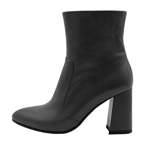 Comfortable Heel black A Leather Toe High Block Genuine Almond Women's Leather Verocara Bootie Shoes 7tqY4Y