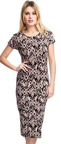 Women's Beige Tribal Patterned Midi Dress