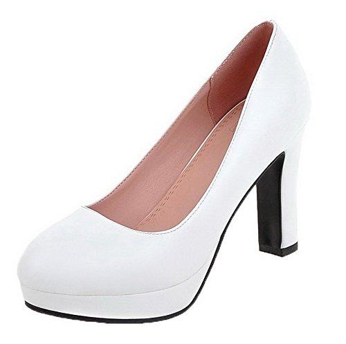 VogueZone009 Femme Tire à Talon Haut Plate-Forme Étanche Rond Chaussures Légeres Blanc LZEx9UKbJS