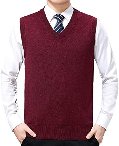 Jvfgbsdgfs Men Casual Slim Fit V-Neck Knit Sweater Vest Lightweight Thermal Vest
