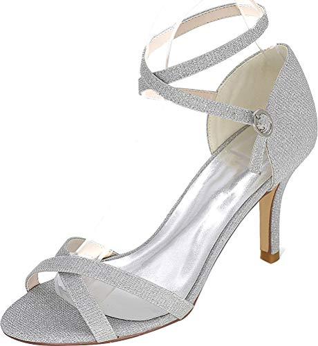 5 Shut Femme Bride Argenté Up Silver Eu 36 Cheville q04rHq