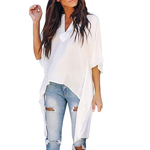 Yezijin_Women's Wear Women Casual V-Neck Irregular Bat Sleeve Loose Solid T-Shirt Top Blouses Summer Casual Tank 2019 White ()
