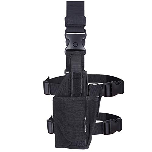 (MGFLASHFORCE Drop Leg Holster, Adjustable Molle Tactical Thigh Pistol Gun Holster Right Handed)