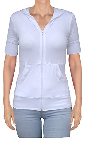 Short Sleeve Front Zip Hoodie Sweater with Front Pockets (xx-l bust 38-39, white) (Featherweight Long Cardigan)
