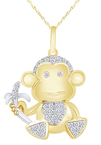 14K Solid Yellow Gold Round Cut Natural Diamond Monkey with Banana Pendant Necklace (0.47 Cttw)