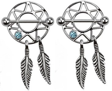 - Pierced Owl Dream Catcher Nipple Shields Gem Dangle Barbell Barbells 14g 316L Stainless Steel - Sold as a Pair (Aqua)
