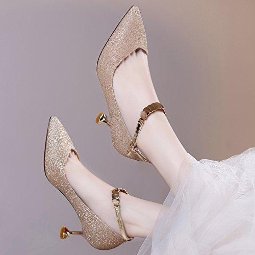 Ajunr Moda/elegante/Transpirable/Sandalias de Mujer Los zapatos de mujer el periodo de primavera y otoño Nueva pequeña y de alta todo el partido gato y con la moda Calzado 6cm. Golden