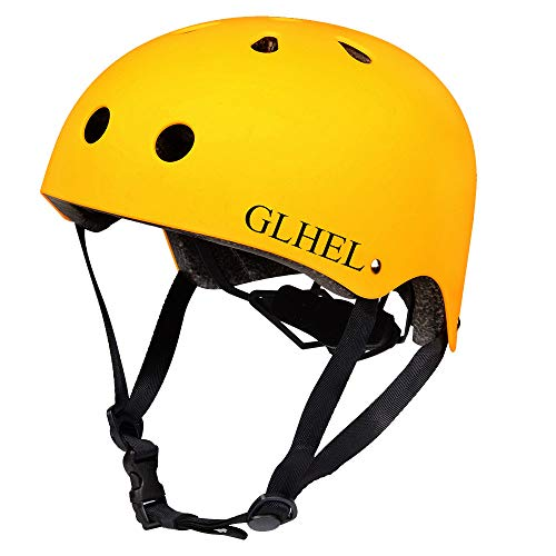 GLHEL Skateboard Helmet Impact Resistance Safe Helmet Multi Sport for Bike, Skates, Skateboards & Scooter Certified CPSC Adult&Kids Adjustable Dial Helmet with Multiple Colors&Sizes (Yellow, Medium)