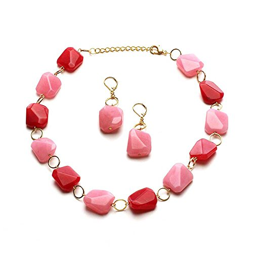 - LookLove Womens Jewelry Genuine Dyed Jade Necklace and Earring Set 16