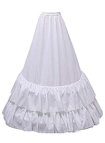 YUAKOU Floor Length A Line Bridal Petticoat Underskirt Crinoline Half Slip (Pure White) ()