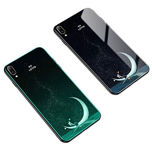 Yoodi Vivo V11 Case, Luminous Tempered Glass Back Case [Cover Can Glow in The Dark] Shockproof Anti-Scratch Resistant Protective Shell for Vivo V11/V11 Pro/Vivo X21s - Moon