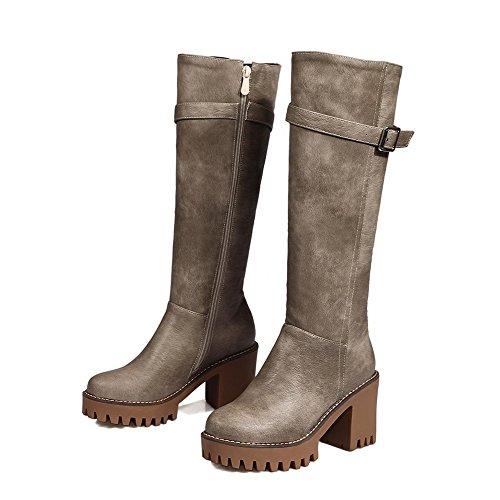 High Closed Heels Toe top Allhqfashion High PU Boots Women's Zipper Gray Round fwq4AxBU8