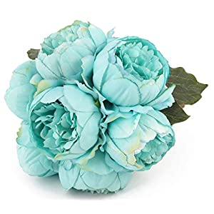 Artificial Flower Peony Silk 1 Bouquet 7 Heads 3 Leaves Vintage Home Decoration Party Wedding (Acid Blue) 91