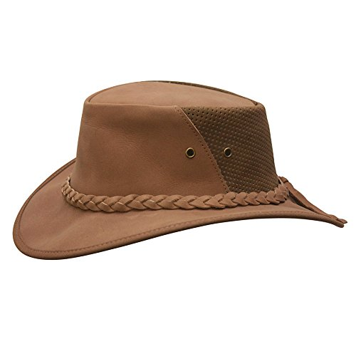 Conner Hats Men's Down Under Leather Breezer Hat, Clay, M ()