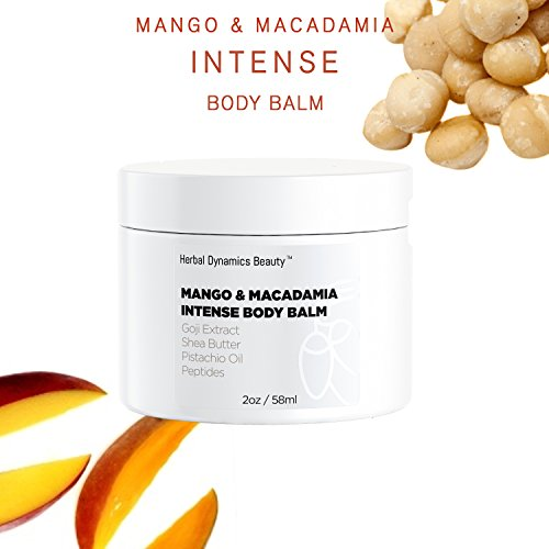 Mango Macadamia - HD Beauty Mango + Macadamia Intense Body Balm with Goji Extract, Shea Butter, Pistachio Oil, and Peptides Ideal for Extremely Dry Skin, Elbows and Feet, 2 oz.