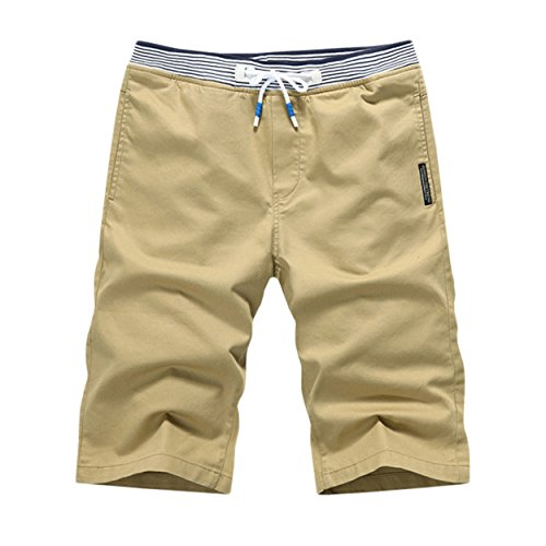 (K&S Young Men's Casual Style Cotton Slim-Fit Straight Short Beach Shorts (S, Khaki))