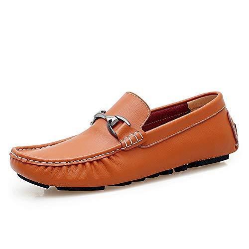 Marron 44 EU MXLTiandao Conduite Mocassins pour Hommes en Cuir véritable antidérapant Fort Chaussures de Bateau décontracté Mocassins (Couleur   Marron, Taille   44 EU)