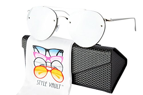 Metal Vault Sunglass Case (Av30-ec Aviator Pilot Retro Metal Sunglasses (MLV Silver-Rose gold mirror w/case, gradient))