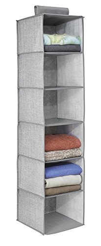(InterDesign Aldo Fabric Hanging Closet Storage Organizer for Clothing, Sweaters, Shoes, Accessories in Bedrooms, College Dorms, 11.75