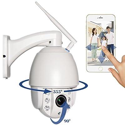 FDT Outdoor PTZ (4x Optical Zoom) HD 1080p WiFi IP Camera (1.3 Megapixel), IP65 Weatherproof, Wireless Security Camera FD7903 (White), Pan/Tilt/Zoom, Night Vision - 65ft (20meters) w/32GB SD Card