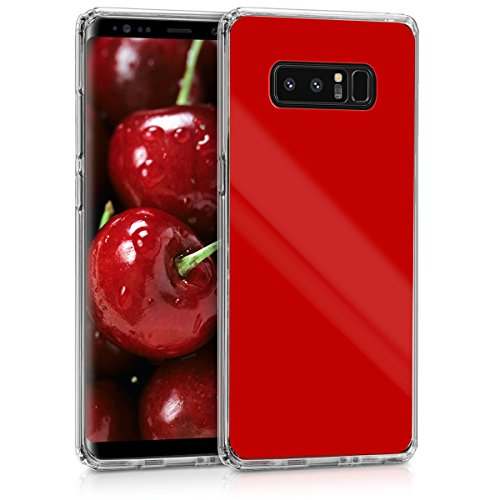 kwmobile Case for Samsung Galaxy Note 8 DUOS - Protective Cover with Acrylic Back and TPU Silicone Bumper - Red/Transparent