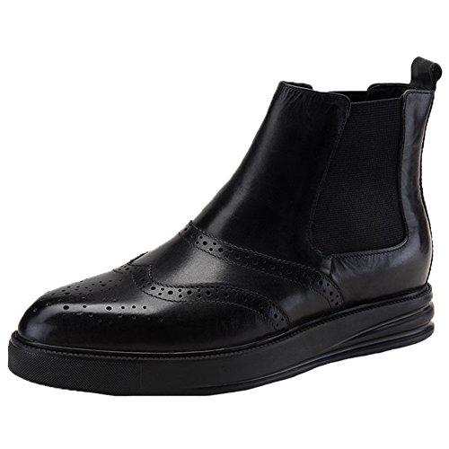 Botas De Vestir Chelsea Para Hombre De Santimon Botas De Cuero Con Antera De Gamuza Brogue De Plataforma Con Broche En Negro