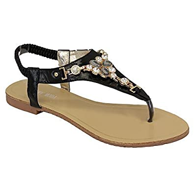 a325d881d167 Ladies Diamante Sandals Womens Slip On Flat Open Toe Sling Back ...