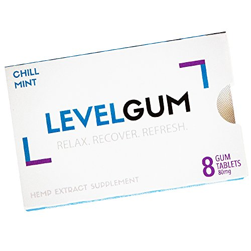 LEVELGUM – Hemp Oil Extract Chewing Gum 80mg + Relieves Stress & Anxiety + Reduces Pain & Inflammation + Herbal Support Supplement + Chill Mint Flavor