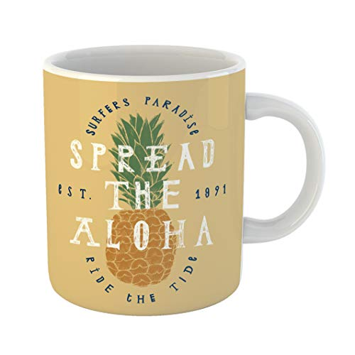 (Emvency Coffee Tea Mug Gift 11 Ounces Funny Ceramic Spread the Aloha Pineapple Surfers Paradise Ride Tide Surfing Lettering Gifts For Family Friends Coworkers Boss)