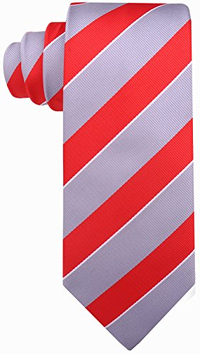 College Striped Ties for Men - Woven Necktie - Gray ()